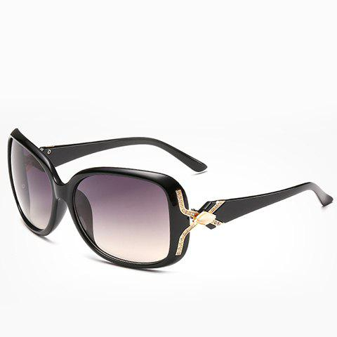 Chic Faux Gem and Letter X Shape Embellished Women's Black Sunglasses - BLACK