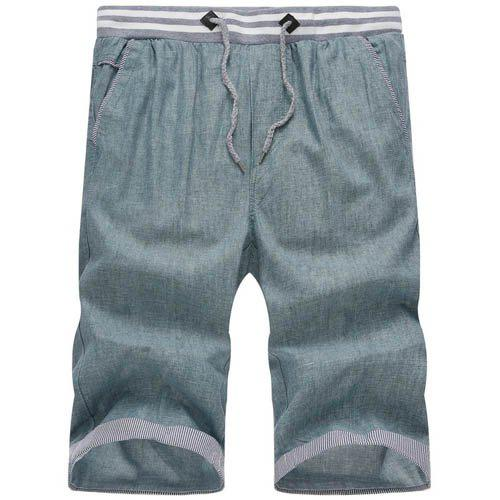 Classic Plaid Spliced Straight Leg Lace-Up Men's Cotton+Linen Shorts