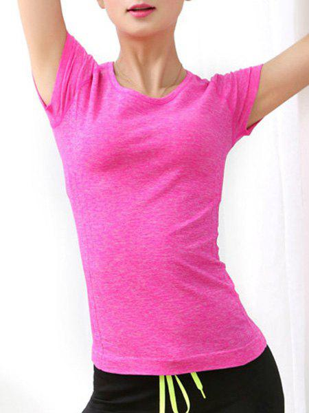 Trendy Jewel Neck Short Sleeve Sport T-Shirt For Women - ROSE M