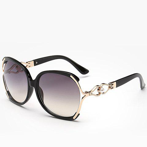 Chic Faux Pearl Inlay Hollow Bow Embellished Women's Sunglasses - BLACK