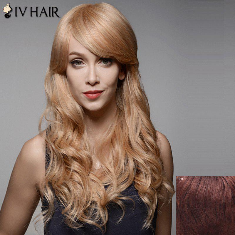 Stunning Long Side Bang Fluffy Wavy Capless Human Hair Wig - DARK AUBURN BROWN