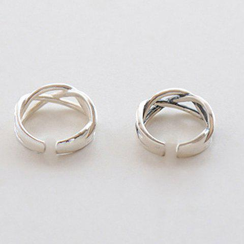 Trendy Simple Style Hollow Out Cuff Ring For Women - SILVER ONE-SIZE