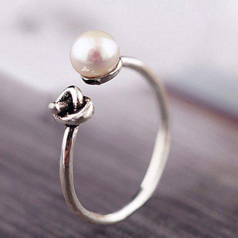 Trendy Simple Style Faux Pearl Cuff Ring For Women - SILVER ONE-SIZE