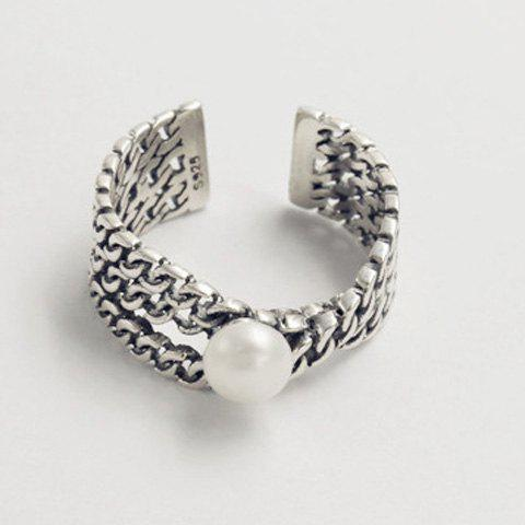 Chunky Faux Pearl Cuff Ring - SILVER ONE-SIZE