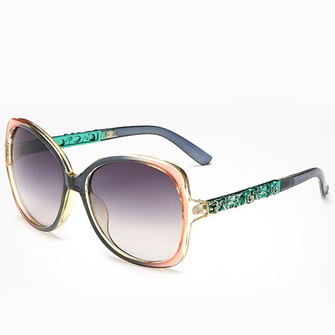 Chic Flower Shape Carve Embellished Ombre Frame Women's Sunglasses - GRASS GREEN