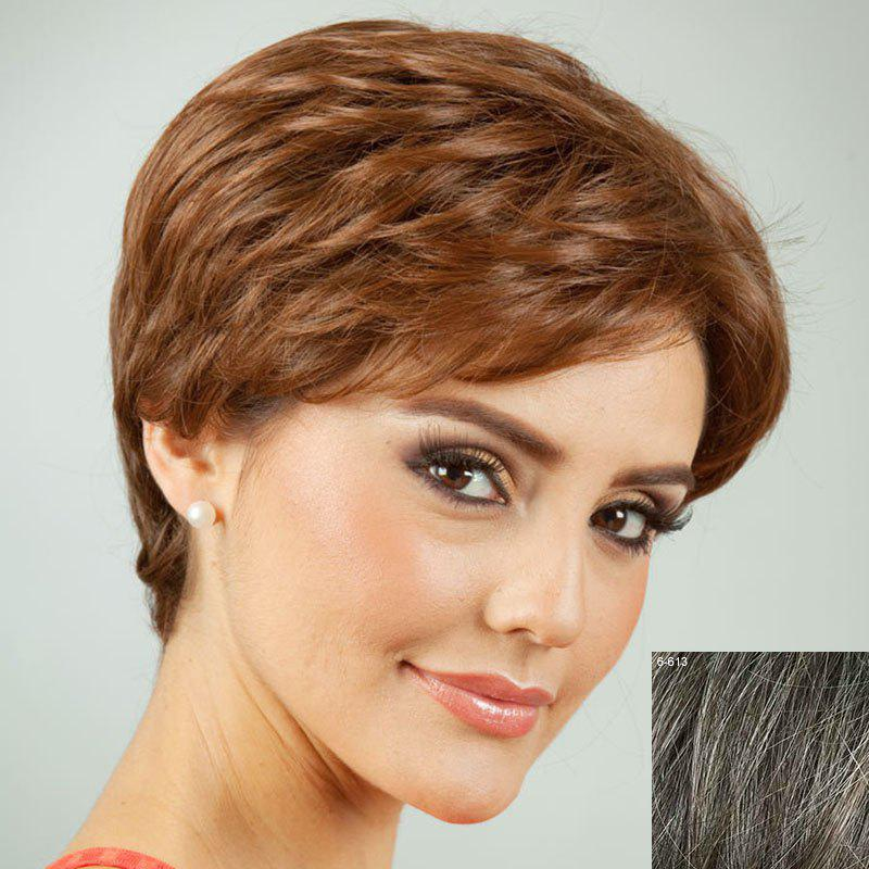 Towheaded Side Bang Short Curly Human Hair Wig For Women - DARKEST BROWN/GRAY