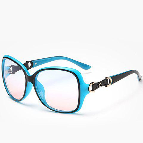 Chic Hollow Metal Embellished Black and Blue Women's Sunglasses