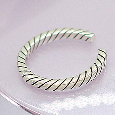 Trendy Simple Style Diagonal Cuff Ring For Women - SILVER