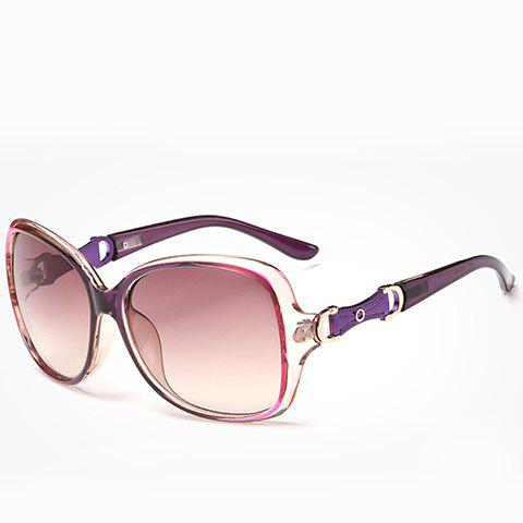 Chic Hollow Metal Embellished Ombre Frame Women's Sunglasses - PURPLE