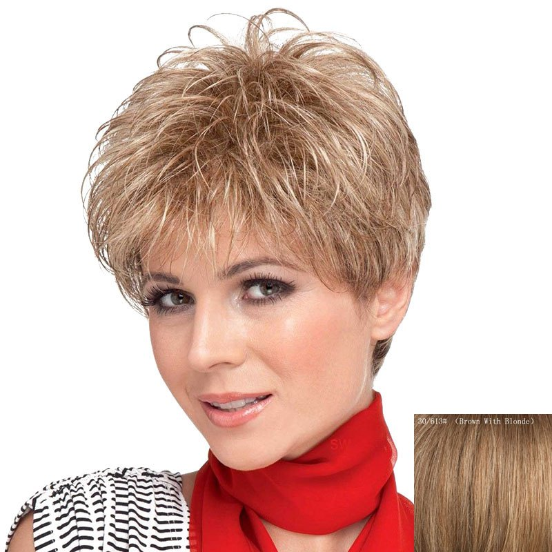 Towheaded Short Side Bang Curly Human Hair Wig For Women - BROWN/BLONDE
