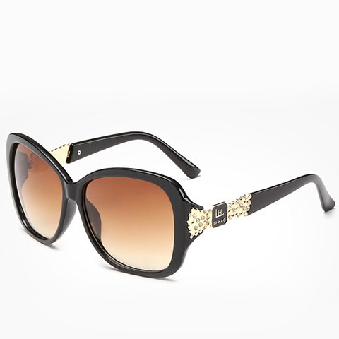 Chic Rhinestone and Letters Metal Embellished Women's Sunglasses - BLACK