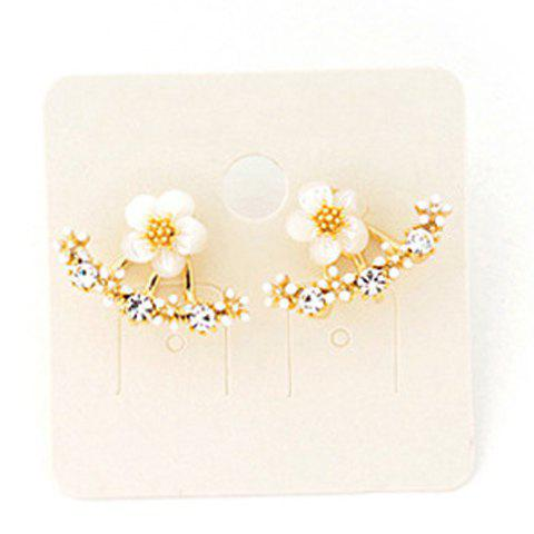 Rhinestone Flowers Stud Earrings - GOLDEN