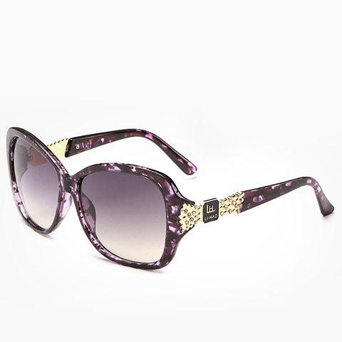 Chic Rhinestone and Letters Metal Embellished Women's Flecky Sunglasses - PURPLE
