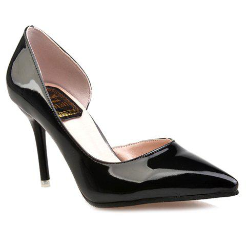 Office Lady Patent Leather and Pointed Toe Design Womens PumpsShoes<br><br><br>Size: 38<br>Color: BLACK