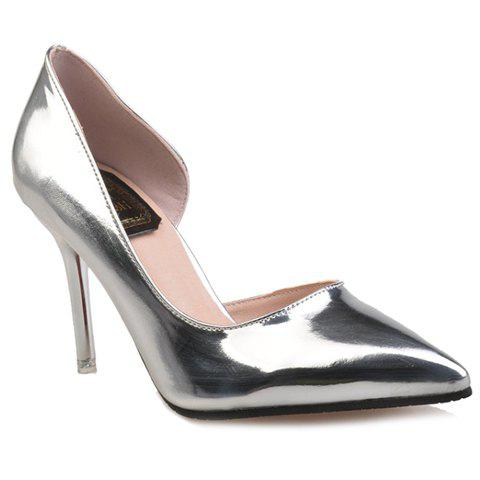Office Lady Patent Leather and Pointed Toe Design Women's Pumps - SILVER 39