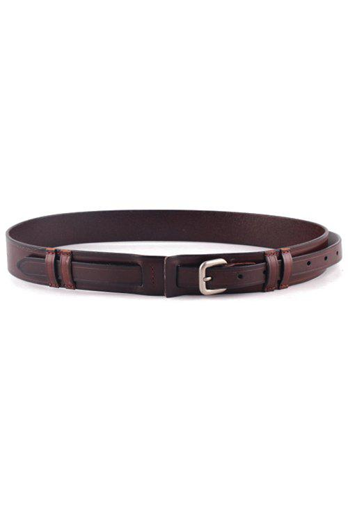 Stylish Pin Buckle Cowhide Waistband For Women - COFFEE