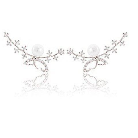 Pair of Chic Faux Pearl Butterfly Earrings For Women