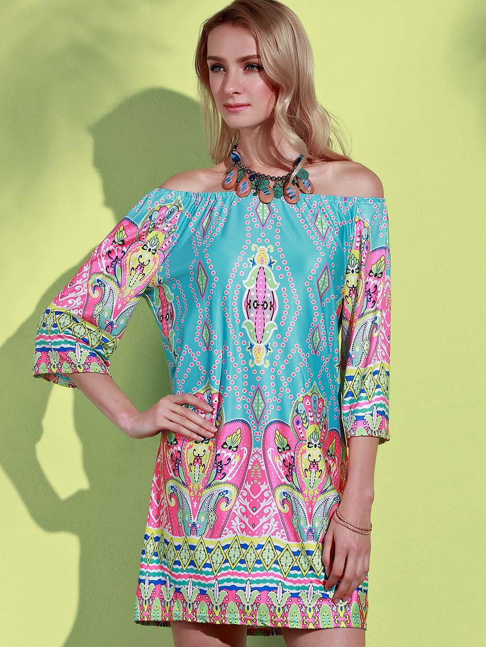 African Style Off The Shoulder Dress - MINT GREEN 2XL
