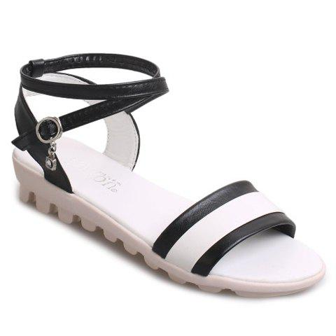 Casual Color Block and Cross-Strap Design Women's Sandals - BLACK 38