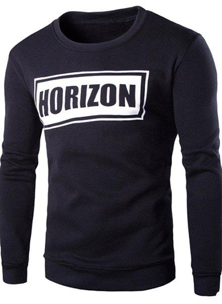 Hot Sale Round Neck Rib Splicing Letters Pattern Print Long Sleeve Men's Sweatshirt - BLACK 2XL