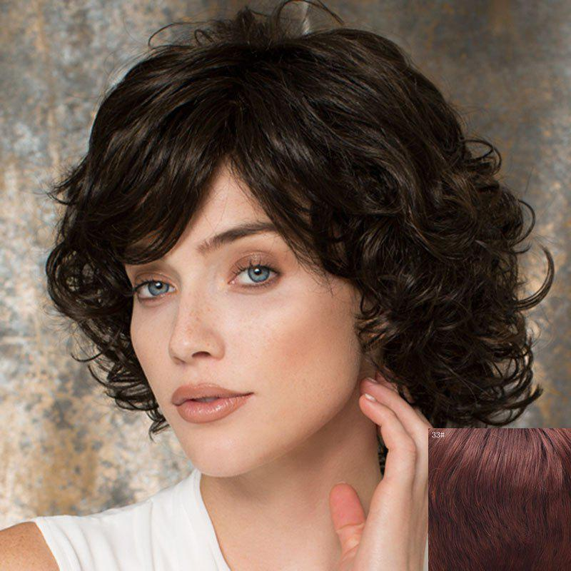 Towheaded Side Bang Curly Human Hair Wig For Women