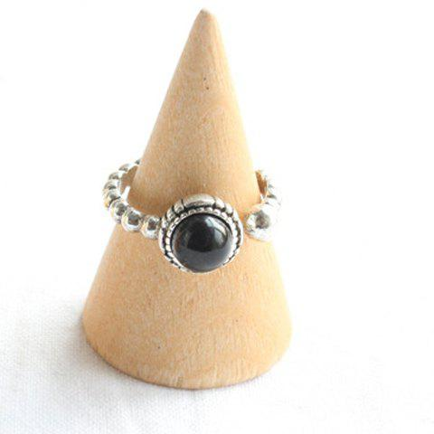 Faux Agate Decorated Ring - BLACK ONE-SIZE