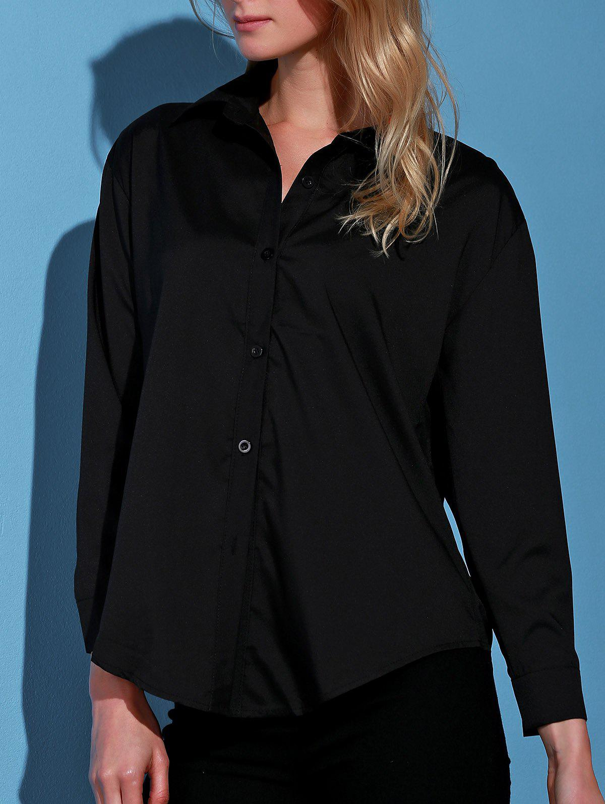 Stylish Turn-Down Collar Black Single-Breasted Long Sleeve Women's Blouse - BLACK L