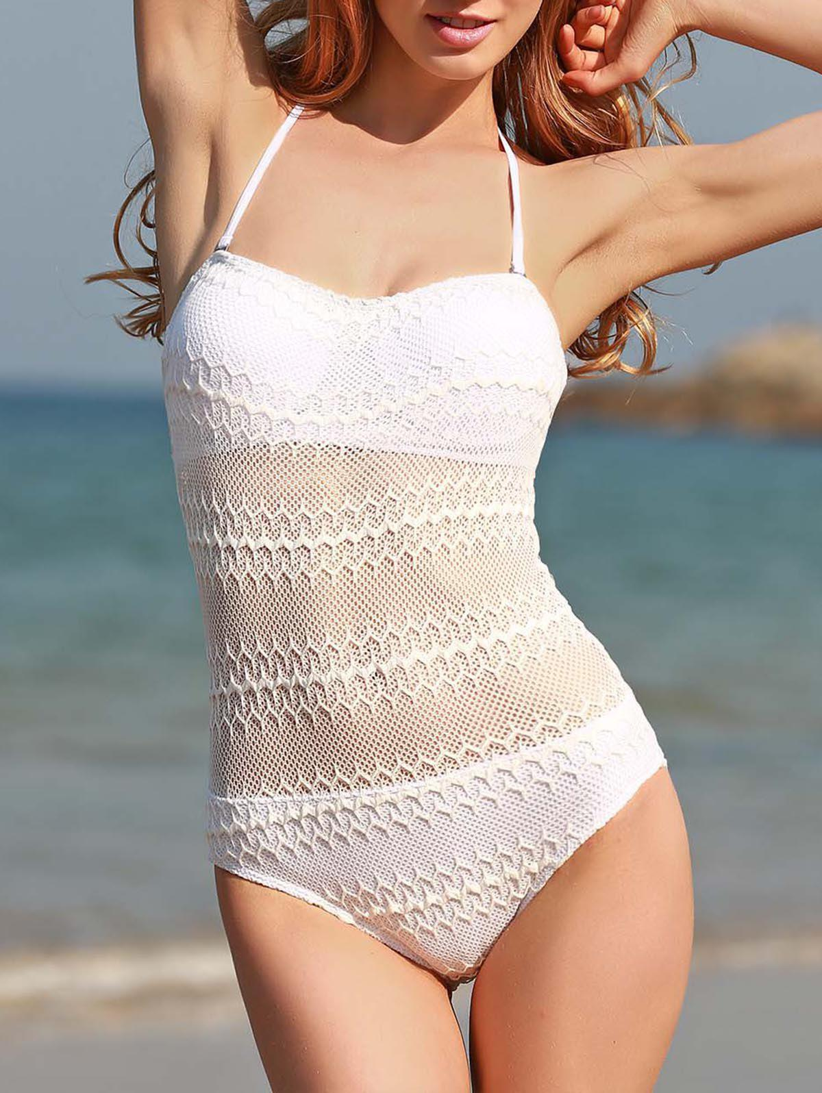 Sexy Halter White See-Through Voile Splicing One Piece Swimwear For Women - WHITE M