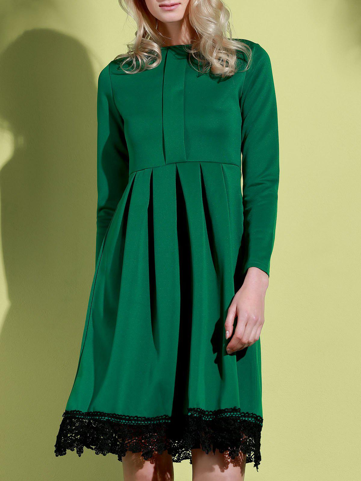 Attractive Round Collar Lace Hem Long Sleeve Ruffled Dress For Women - GREEN S