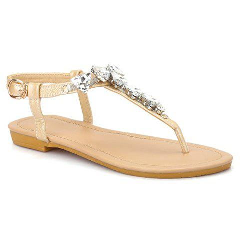 Sweet Rhinestones and Flip Flops Design Sandals For Women - 38 APRICOT