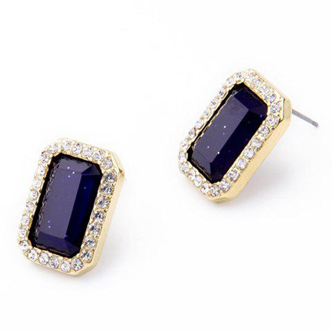 Pair of Charming Rhinestoned Faux Gem Rectangle Earrings For Women - GOLDEN