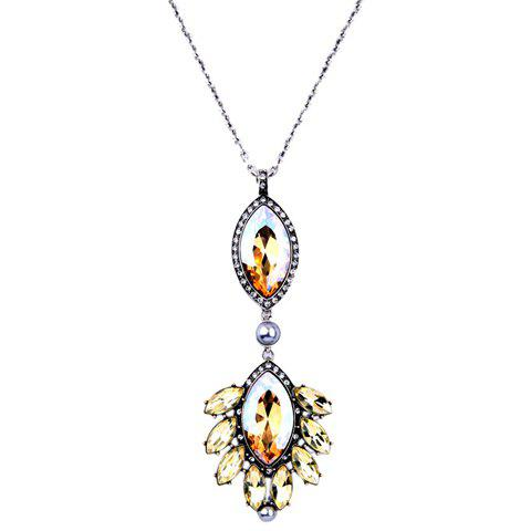 Vintage Rhinestone Faux Crystal Oval Necklace For Women - YELLOW