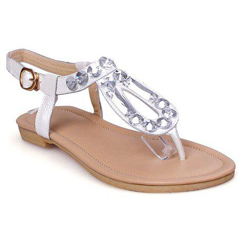Ladylike Flip Flops and Rhinestones Design Sandals For Women - WHITE 39