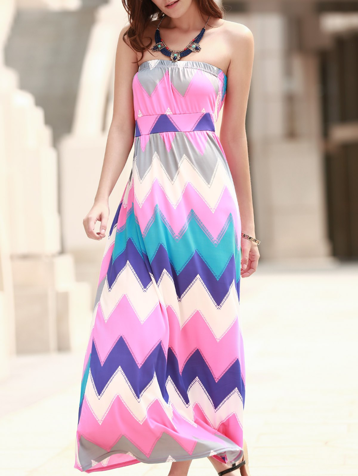 Colorful Strapless Zigzag Dress