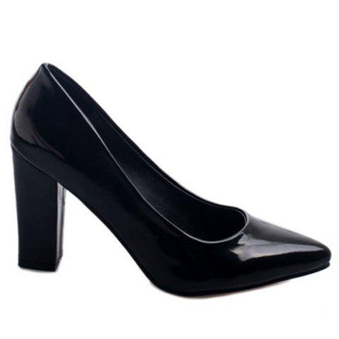Office Lady Solid Color and Chunky Heel Design Women's Pumps - BLACK 35