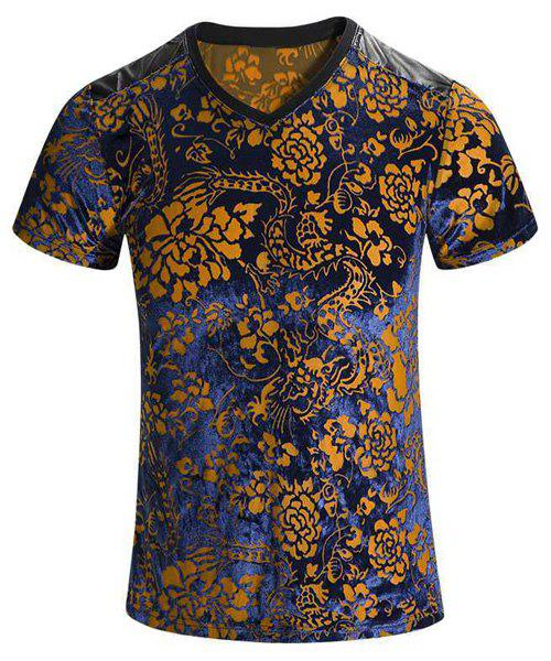 Plus Size V-Neck PU Leather Spliced Floral Print Men's Short Sleeves T-Shirt - COLORMIX M