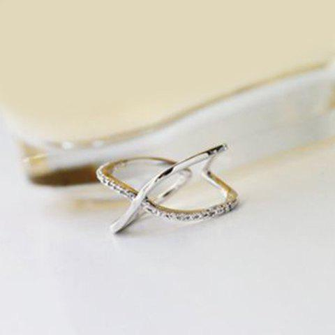 Cross Cuff RingJewelry<br><br><br>Size: ONE-SIZE<br>Color: SILVER