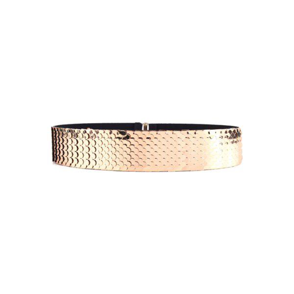 Stylish Fish Scale Sheetmetal Elastic Waistband For WomenAccessories<br><br><br>Color: GOLDEN