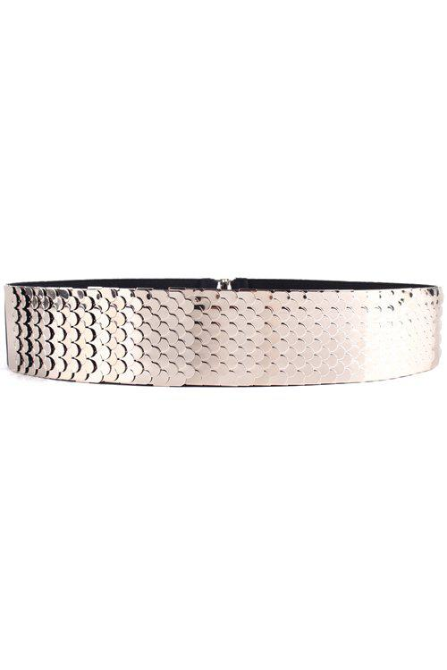 Stylish Fish Scale Sheetmetal Elastic Waistband For Women - SILVER