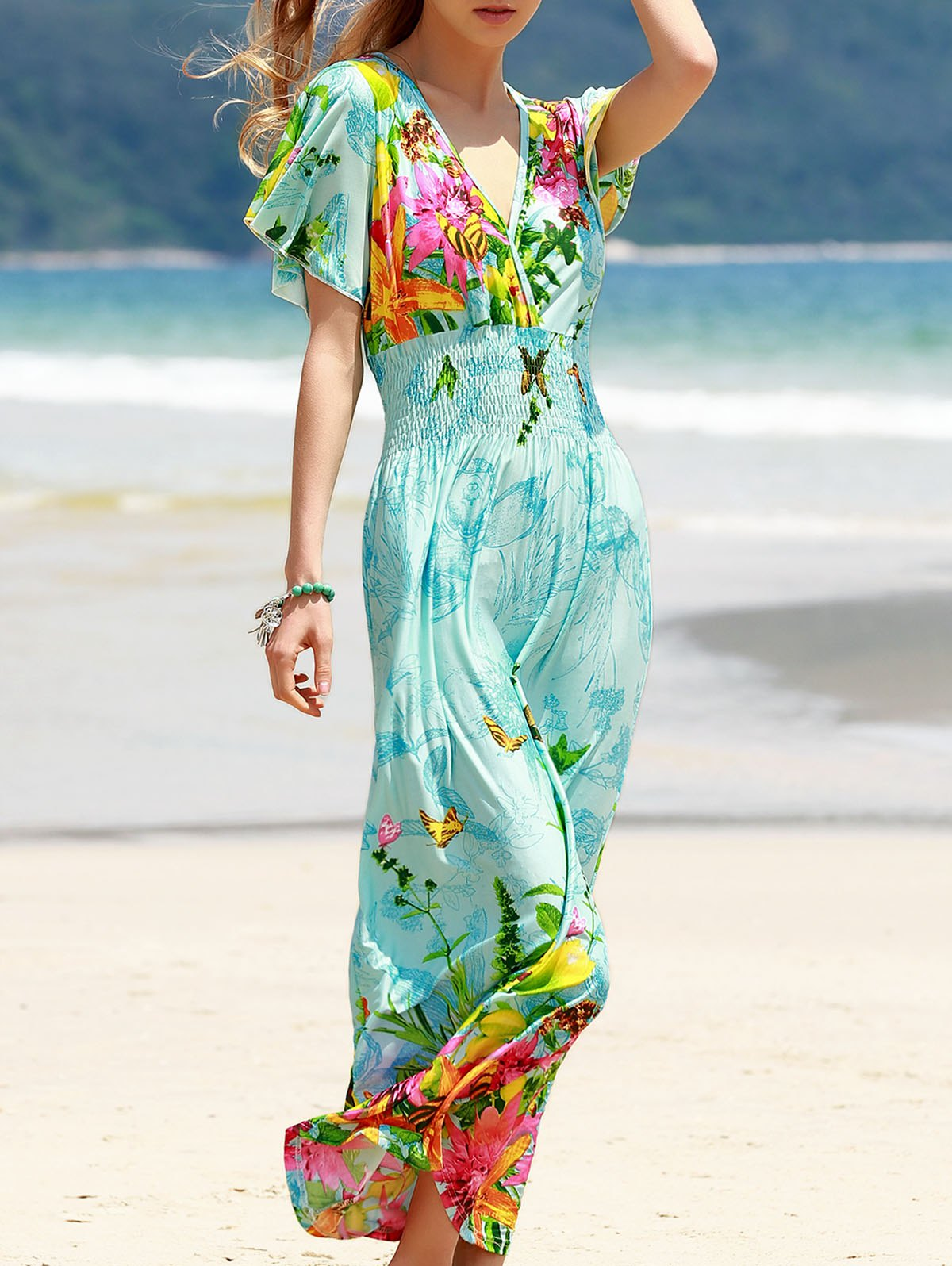 Bohemian Short Sleeve Plunging Neck Women's Floral Dress - BLUE ONE SIZE(FIT SIZE XS TO M)