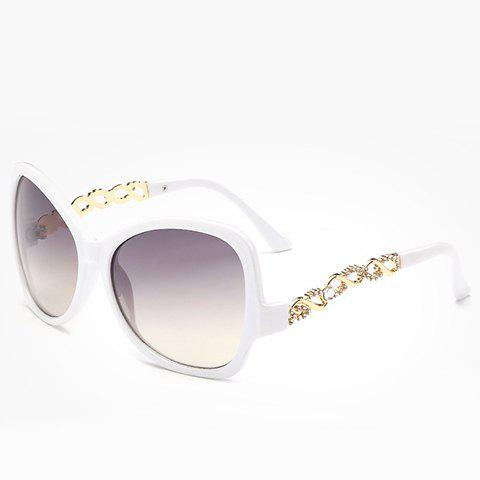 Chic Rhinestone Hollow Chain Shape Embellished Women's Sunglasses - WHITE