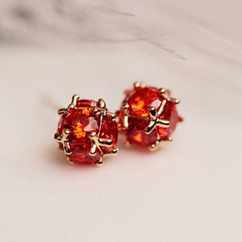 Pair of Chic Faux Crystal Ball Earrings For Women - RED