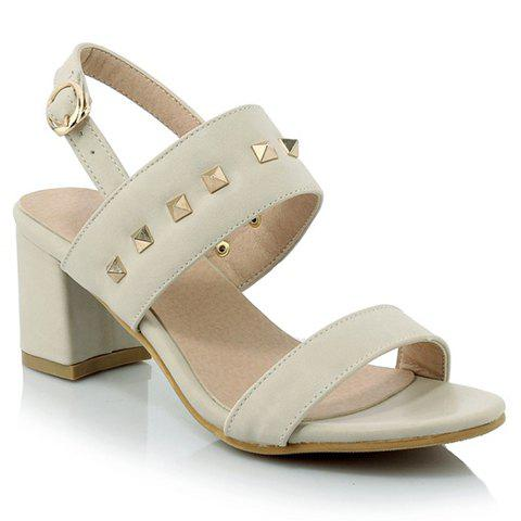 Fashion Chunky Heel and Rivets Design Sandals For Women - OFF WHITE 37