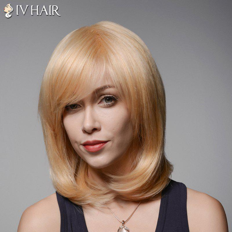 Elegant Straight Tail Adduction Vogue Medium Side Bang Capless Human Hair Wig For Women -  GOLDEN BROWN/BLONDE