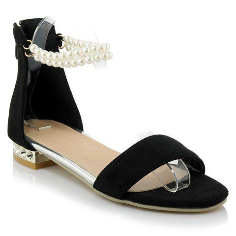 Sweet Beaded and Suede Design Sandals For Women - BLACK 39