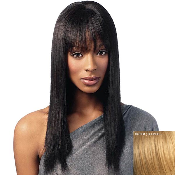 Nobby Full Bang Long Human Hair Wig For Women - BLONDE