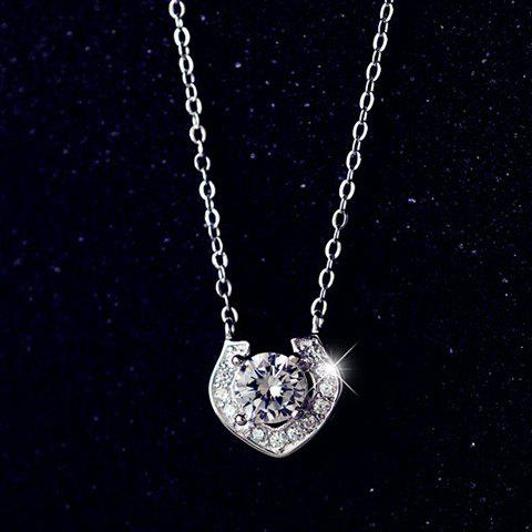 Rhinestoned Heart Pendant Necklace - SILVER