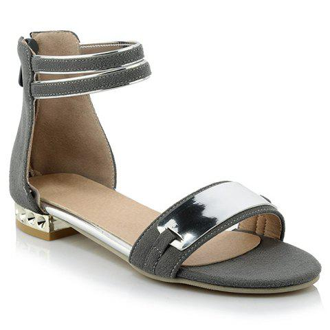 Sweet Metal and Suede Design Sandals For Women - GRAY 38