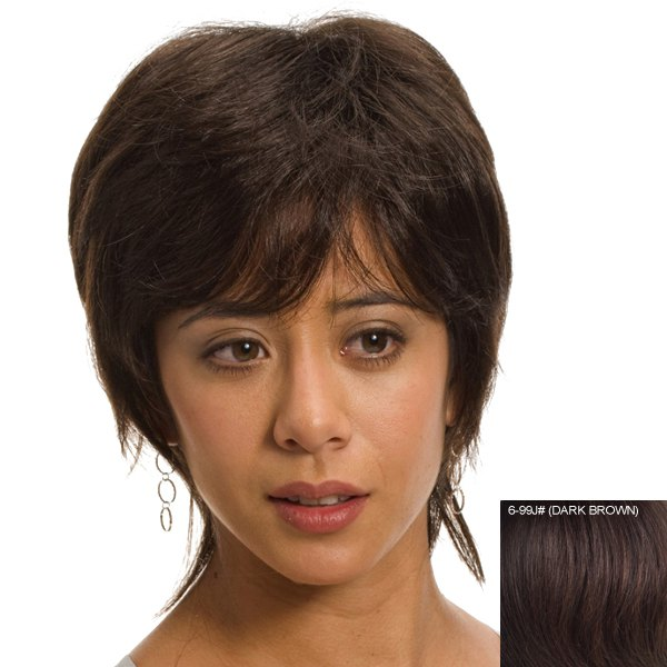 Charming Fluffy Side Bang Short Human Hair Wig For Women