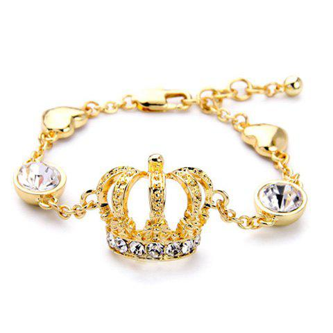 Rhinestone Crown Bracelet - GOLDEN